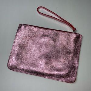 NWOT Valentina Pink Leather Clutch